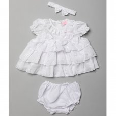 T20236B: Baby Girls Tiered Broderie  Anglais Dress, Pant & Headband Set (6-24 Months)