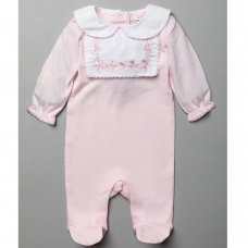 T20239: Baby Girls Cotton All In One With Lace Trim & Embroidery  (0-12 Months)