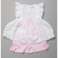 T20257: Baby Girls Tier & Bow 2 Piece Outfit Set (0-9 Months)