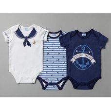 T20268: Baby Boys Sailor 3 Pack Bodysuits (0-12 Months)