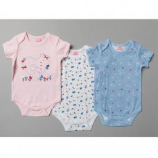 T20269: Baby Girls Bunny 3 Pack Bodysuits (0-12 Months)