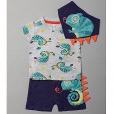 T20276:  Baby Boys Chameleon T-Shirt, Short & Bib Outfit (0-12 Months)