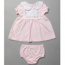T20282: Baby Girls Dress & Pant With Lace Trim & Embroidery  (0-12 Months)