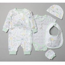 T20290: Baby Unisex Organic Cotton 5 Piece Set (NB-6 Months)