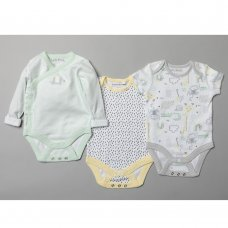 T20291: Baby Unisex Organic 3 Pack Bodysuits With Extendable Gussets (0-12 Months)