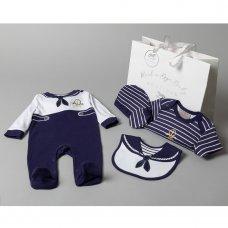 T20295: Baby Boys Nautical 6 Piece Mesh Bag Gift Set (NB-6 Months)