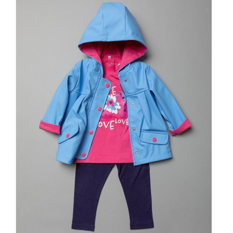 T20299: Baby Girls Hooded Rain Jacket, Printed T-Shirt & Legging Outfit (6-24 Months)