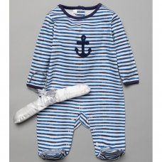T20306: Baby Boys Sleepsuit With Crochet Applique On A Satin Padded Hanger  (0-9 Months)