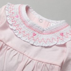T20307: Baby Girls Smocked Collar Cotton All In One On A Satin Padded Hanger (NB-6 Months)