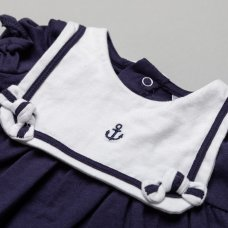 T20308: Baby Girls Nautical Dress With Bib Outfit (0-12 Months)
