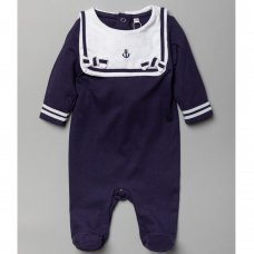 T20309 Baby Boys Nautical  All In One With Bib (0-12 Months)