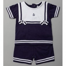 T20310: Baby Boys Nautical T-Shirt With Bib & Short Outfit (0-12 Months)