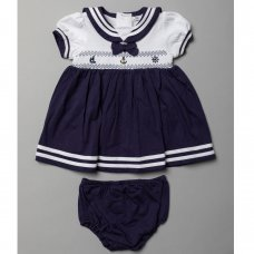 T20311: Baby Girls Smocked Sailor Dress & Pant Outfit On A Satin Padded Hanger (0-12 Months)