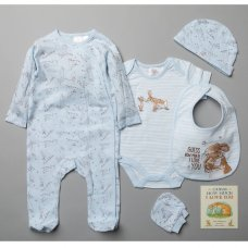 T20313: Baby Boys Guess How Much I Love You 7 Piece Mesh Bag Gift Set With Book (NB-6 Months)