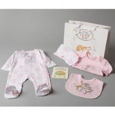 T20314: Baby Girls Guess How Much I Love You 7 Piece Mesh Bag Gift Set With Book (NB-6 Months)