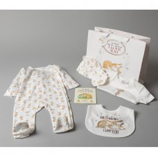T20315: Baby Unisex Guess How Much I Love You 7 Piece Mesh Bag Gift Set With Book (NB-6 Months)