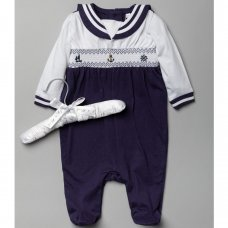 T20318: Baby Boys Smocked Sailor Cotton All In One On A Satin Padded Hanger (0-12 Months)