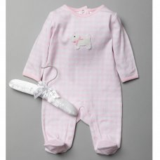 T20327: Baby Girls Sleepsuit With Crochet Applique On A Satin Padded Hanger  (0-9 Months)