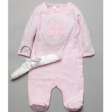 T20328: Baby Girls Sleepsuit With Crochet Applique On A Satin Padded Hanger  (0-9 Months)