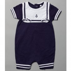 T20333: Baby Nautical Romper With Bib (0-12 Months)