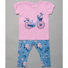 T20340:  Baby Girls T-Shirt With Embroidery Flowers & All Over Print Legging Outfit (3-24 Months)