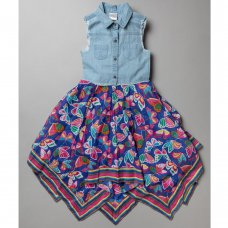 T20356: Girls Cotton Lined All Over Print Dress (3-11 Years)