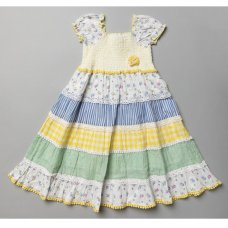 T20358: Girls Cotton Lined All Over Print Dress (3-11 Years)