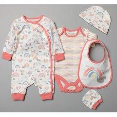 T20360: Baby Girls Organic Cotton 5 Piece Set (NB-6 Months)