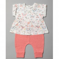 T20362: Baby Girls Organic Cotton Top & Jog Pant Outfit (0-18 Months)