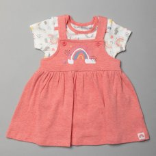 T20363: Baby Girls Organic Cotton Pinafore Dress & Bodysuit Outfit (0-18 Months)