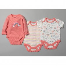 T20364: Baby Girls Organic 3 Pack Bodysuits With Extendable Gussets (0-12 Months)