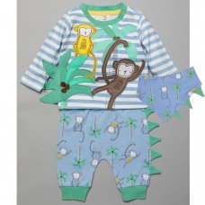 T20365:  Baby Boys 3D Monkey Top, Jog Pant & Bib Outfit (0-12 Months)