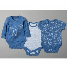 T20367: Baby Boys Organic 3 Pack Bodysuits With Extendable Gussets (0-12 Months)