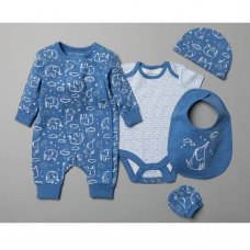 T20368: Baby Boys Organic Cotton 5 Piece Set (NB-6 Months)