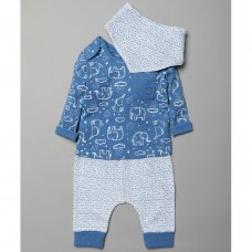 T20369: Baby Boys Organic Cotton Top, Jog Pant & Bib Outfit (0-18 Months)