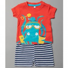 T20371:  Baby Boys Octopus T-Shirt & Short Set (0-12 Months)