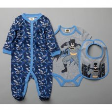 T20389: Baby Batman 3 Piece All In One, Bodysuit & Bib Set (0-9 Months)