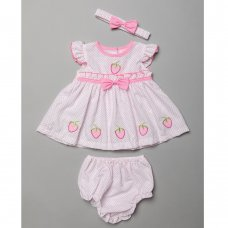 T20397A: Baby Girls Polka Dot Dress With Strawberry Embroideries, Pant & Headband Set (0-9 Months)