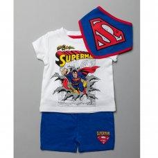 T20414:  Baby Superman T-Shirt, Short & Bib Outfit (0-18 Months)