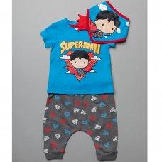 T20447:  Baby Superman T-Shirt, Jog Pant & Bib Outfit (0-18 Months)