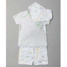 T20468: Baby Unisex Organic Cotton T-Shirt, Short & Bib Outfit (0-18 Months)