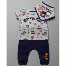 T20473:  Baby Justice League T-Shirt, Jog Pant & Bib Outfit (0-18 Months)