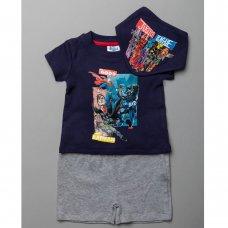 T20480:  Baby Justice League T-Shirt, Short & Bib Outfit (0-18 Months)