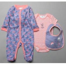 T20506: Baby Bugs Bunny 3 Piece All In One, Bodysuit & Bib Set (0-9 Months)