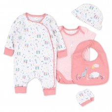 T20546: Baby Girls Organic Cotton 5 Piece Set (NB-6 Months)