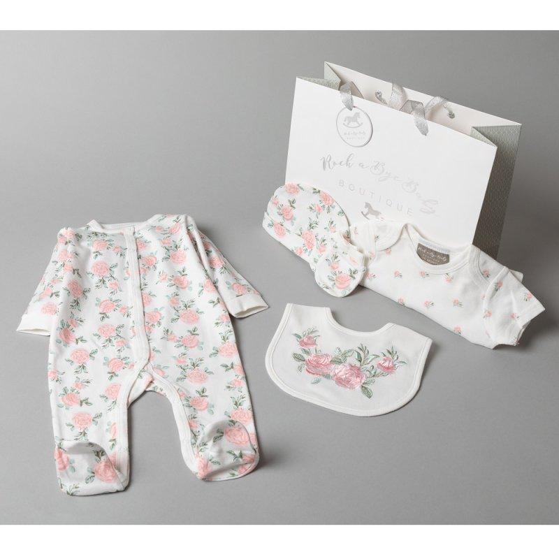 T20577: Baby Girls Floral 6 Piece Mesh Bag Gift Set (NB-6 Months)