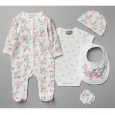 T20577: Baby Girls Floral 6 Piece Mesh Bag Gift Set (NB-6 Months)
