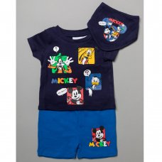 T20625:  Baby Mickey Mouse T-Shirt, Short & Bib Outfit (0-12 Months)