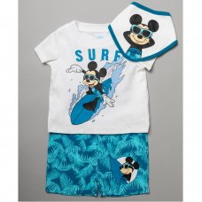 T20628:  Baby Mickey Mouse T-Shirt, Short & Bib Outfit (0-12 Months)
