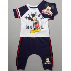 T20629:  Baby Mickey Mouse T-Shirt, Jogpant & Bib Outfit (0-12 Months)
